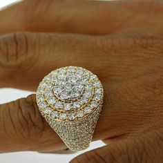 Yellow Gold Over With Cluster Round Diamond Men's Fashion Pinky Ring Round Cut Diamond, Round Diamonds, Mens Pinky Ring, Mens Diamond Wedding Bands, Wedding Men, Band Rings, Heart Ring, Rings For Men, Men's Fashion