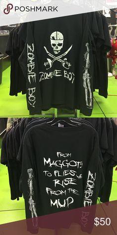 Zombie Boy Long Sleeve White Zombie Boy logo on front. Zombie boy text with bugs right arm. Bone with bugs left sleeve. Lyrics on back Shirts Tees - Long Sleeve