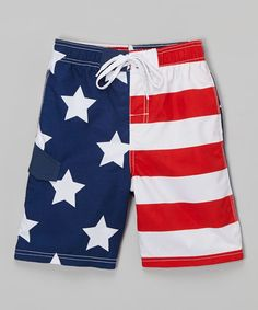 Red American Flag Patriot Boardshorts - Infant Toddler & Boys