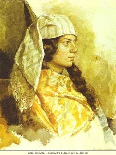 "Isaac Levitan (Russian, 1860 - 1900)  ""Jewish Woman in an Oriental Shawl"", 1884. ~ Water color on paper."