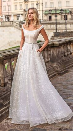 helena kolan 2020 bridal off shoulder cap sleeves scoop neckline fully embellished glitzy glam a line ball gown wedding dress pockets sweep train (13) mv -- Helena Kolan 2020 Wedding Dresses | Wedding Inspirasi  #wedding #weddings #bridal #weddingdress #weddingdresses #bride #fashion #collection:Forever #label:HelenaKolan #week:372019 #year:2020 ~ How To Dress For A Wedding, Wedding Dress With Pockets, Classic Wedding Dress, Dress Pockets, Western Wedding Dresses, Bridal Wedding Dresses, Dream Wedding Dresses, Lace Wedding, Prom Dresses