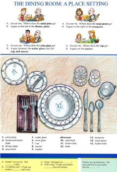 THE DINING ROOM: APLACE SETTING - Pictures dictionary