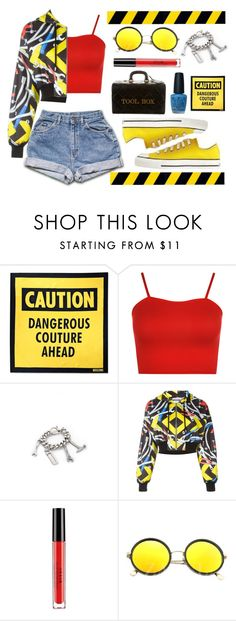 """""""Under Construction - Cute Trend: Cropped Hoodies"""" by leslee-dawn ❤ liked on Polyvore featuring Moschino, WearAll, Stila, Converse, OPI, converse, stila and CroppedHoodie"""