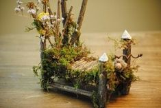 Cute Fairy bed from Tree Star Hollow that offers Fairy house workshops and supplies. Fairy Dust, Fairy Land, Fairy Garden Furniture, House Furniture, Fairy Village, Fairy Garden Houses, Fairy Gardening, Cute Fairy, Fairy Doors
