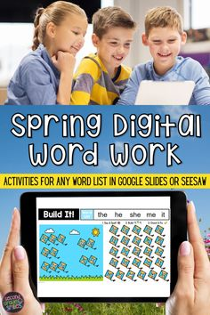 Missing hands-on word work, teachers? This digital word work center set includes spring-themed interactive word work activities for any word list with moveable letter tiles. Use them again and again with any set of spelling words or high-frequency words. Just click to type in your own list! These fun activities are ideal for both distance learning and everyday classroom use in first grade, second grade, third grade, or kindergarten. Word Work Games, Word Work Centers, Word Work Activities, Literacy Activities, Teaching Second Grade, Third Grade, Digital Word, Teaching Vocabulary, 2nd Grade Classroom