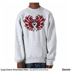 Lung Cancer Awareness Heart Wings  Pullover Sweatshirts by www.giftsforawareness.com #lungcancer #cancerawareness #awareness