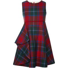 Oscar de la Renta Plaid Wool Sleeveless Dress With Gathered Skirt ($280) ❤ liked on Polyvore featuring dresses, ruched empire waist dress, plaid dress, a line dress, red wool dress and ruching dress