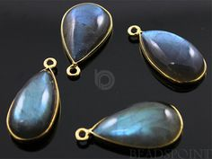 Natural Labradorite Bezel Pear Drops 24K Gold by Beadspoint, $9.99