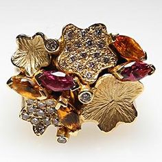 Vintage Cocktail Ring with Citrine and Garnet. Reminds me of Fall.
