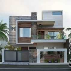 Modern Small House Design, Modern Exterior House Designs, Dream House Exterior, Exterior Design, 3d Home Design, Modern Villa Design, Urban Design, Modern House Facades, Modern Bungalow House