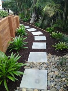 Good and easy to do but wondering if the river stones would move on to the pavers a lot so thinking pavers being a bit closer planted with lawn chamomile or thyme for perfume in between