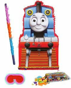 """Thomas the Tank Giant Pinata Party Pack Including Pinata, Pinata Candy and Toy Filler, Buster and Blindfold by Pinata. $76.05. Includes (1) themed Thomas the Tank Giant Pinata. 36""""H x 21""""W. Includes approximately 2 pounds of Candy and Toys. Caution: not recommended for children under 3 years of age. Includes one hard Plastic Pinata Buster that measures approximately 30"""". Caution: use only under adult supervision. Includes one Blindfold with Elastic String. Measures 7"""" long x ..."""