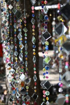 Hanging Garden Art: 3 strings of Tree Jewelry, whimsical and colorful tree bling