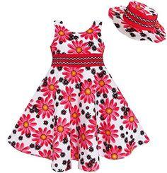 Sunny Fashion Robe Fille 2 Pecs Chapeau Fleur Été Partie Vacances Princesse: ensemble de robe, y compris chapeau d'été. Glissière au dos.…