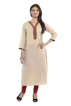 beige Chanderi readymade straight long kurta with cotton lining designed with emb zari patch border work by SEVENEAST  with 3/4 sleeve n having beautiful piping on slit & sleeve.....visit: http://www.seveneast.in/index.php?route=product/product&path=80&product_id=146