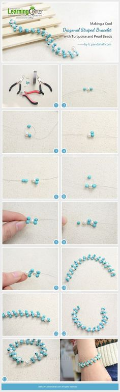 Making a Cool Diagonal Striped Bracelet with Turquoise and Pearl Beads