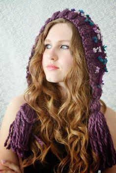 Bohemian Hand knitted crocheted hat Purple Dream by irinacarmen, $45.00