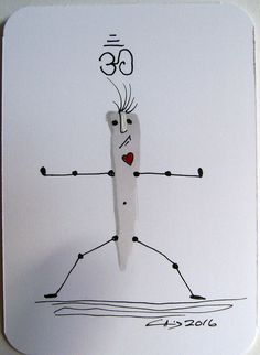 ACEO Original Illustration Yoga Heart OM Red Gray Black Ink Miniature Art | eBay