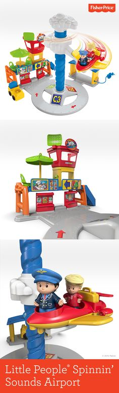 Yes, air travel CAN be fun. At least when you're little and you get to be pilot, crew, passenger and baggage handler – all with the help of your own Little People® Spinnin' Sounds Airport. Watch imagination take flight! Ages 1½ - 5 years.