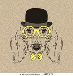 Hand Drawn Vector Fashion Portrait of Dachshund by Olga_Angelloz, via ShutterStock