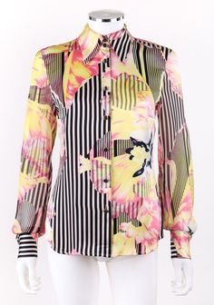 ESCADA Black White Multicolor Striped & Floral Print Silk Shirt Blouse Size 34 #ESCADA #Blouse