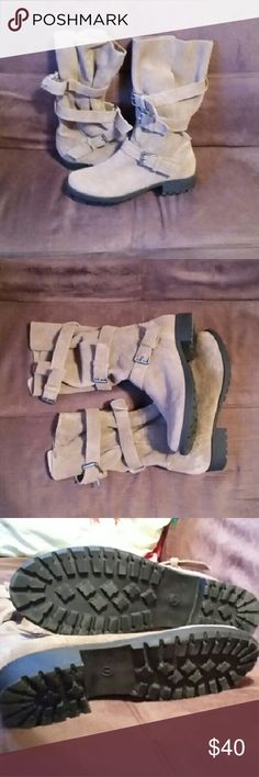 American Eagle Outfitters suede boots size 7 Suede buckle boots worn maybe 3 times if maybe. Size 7 color taupe/light brown. B American Eagle Outfitters Shoes