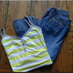 Old Navy striped tank top Old Navy striped tank top. In good condition. Cute with Capri or shorts Old Navy Tops Tank Tops