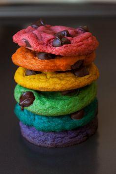 FRESH BAKED Rainbow Chocolate Chip Cookies