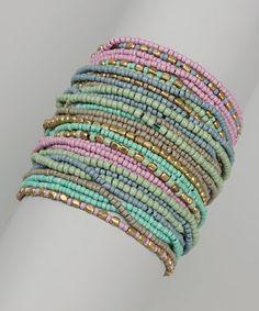 Green & Pink Beaded Strand Bracelet