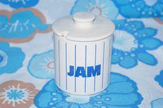 Vintage 80s Hornsea White and Blue striped Jam pot.