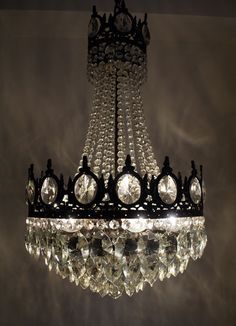 Antique French Basket Style Brass & Crystals Chandelier 1950\'s ...