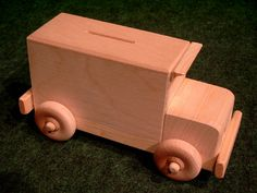 Beautiful, non-toxic wooden armored car coin bank artisan toy with functional wheels. 2 in 1 toy - learn about the basics of saving and the value of money! Armored Car, Armored Vehicles, Natural Kids, Natural Baby, Wooden Car, Wooden Toys, Wooden Piggy Bank, Birthday Return Gifts, Penny Bank
