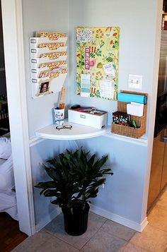 This is the BEST idea for creating a small storage nook.I was looking for something similar to use for craft storage in a small space (Im not fortunate enough like some serious crafters to have a dedicated room for all my stuff). Small Space Living, Small Spaces, Family Command Center, Command Centers, Office Deco, Corner Space, Corner Nook, Corner Office, Small Corner Decor