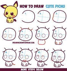 How To Draw Cute Kawaii Chibi Pichu From Pokemon In Easy Step