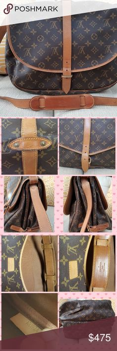 """100% Authentic LV Samur Crossbody bad- Used Authentic LV Samur Crossbody bad- Used  Normal wear  Clean inside, from smoke free house  Some watermarks  Some cracks but when looking at the bag not that noticeable. They look like hair lines only.  The bag still in VERY good condition.  Size: H11""""XL13""""XW9""""  No box or document  Additional pictures are available. Louis Vuitton Bags Shoulder Bags"""
