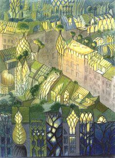 Roof gardens in bio-mimetic ecocity by Belgian architect Luc Schuiten - Toits jardins
