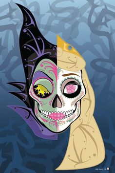Exclusive print of Maleficent & Sleeping Beauty Sugar Skull for a kickstarter project by MY LLC