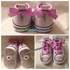 Newborn Custom Converse by From Mi To You. www.frommitoyou.com #junkchucks#customconverse Custom Converse, Hello Spring, Converse Chuck Taylor, All Star, New Baby Products, Bling, Stars, Sneakers, Fashion