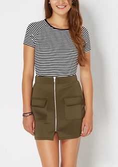 Stripey Ribbed Knit Tee | rue21