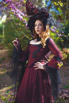 Burgundy Marie Antoniette barroque gothic dress by CostureroReal