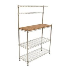 Trinity EcoStorage 36 in. x 14 in. 3-Tier Bamboo and Chrome Baker's Rack Decorative Shelf-TBFZ-1501 - The Home Depot. NOW $70.02! Ends Dec 7, 2015