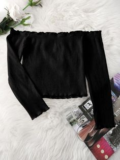 SHARE & Get it FREE | Knitted Ruffled Ribbed Off Shoulder Top - BlackFor Fashion Lovers only:80,000+ Items • New Arrivals Daily Join Zaful: Get YOUR $50 NOW!
