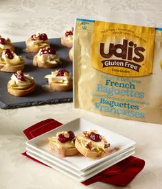 Udi's Apple, Cranberry and Brie Crostini | Udi's® Gluten Free Bread