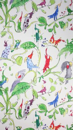 I love whimsical wallpaper. Quentin Blake Cockatoo wallpaper Osborne & Little: Osborne And Little Wallpaper, Kids Wallpaper, Bathroom Wallpaper, Animal Wallpaper, Wallpaper Online, Playroom Wallpaper, Crazy Wallpaper, Wallpaper Ideas, Roald Dahl