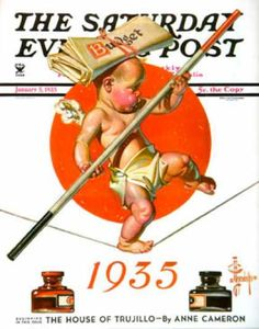 Happy New Year 1935-01-05: Baby New Year Balances the Budget (J.C. ... Saturday Evening Post