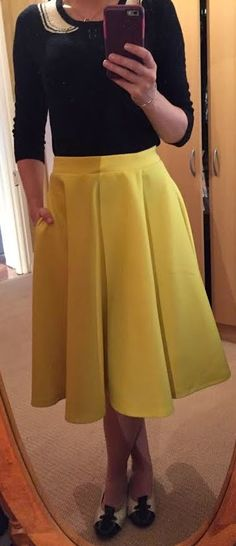 The Girl With Nothing to Wear: Yellow skirt, work style, spring style