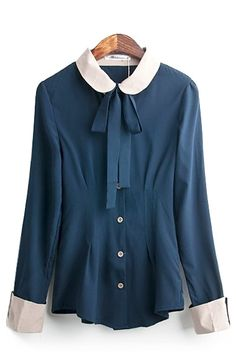 Blue Bowknot Peter Pan Collar Long Sleeve Blouse