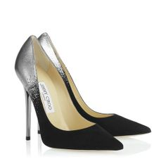 Jimmy Choo 'Anouk'. Anouk is a streamlined and elegant stiletto that epitomises Jimmy Choo. This season the pointy toe pump gets an injection of attitude with this striking application of silver dégradé on black suede. Heel measures 120mm/4.7.