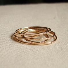 8 Golden Rings - Set of 8 Threads of Gold - Tiny Hammered Stacking Rings - Delicate Jewelry