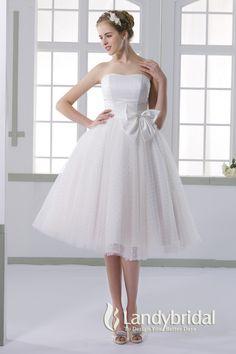ウェディングドレス スモレ丈 ふわふわなスカート 取り外し式サテンリボン ビスチェ 二次会ドレス JWXK15001